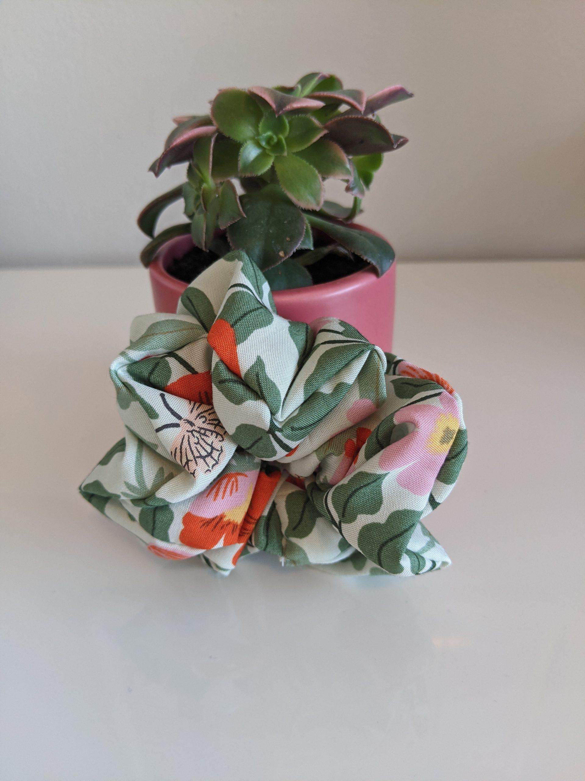 Mint Primrose scrunchie front
