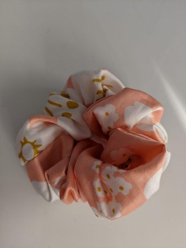 Peach with white flowers silk scrunchie