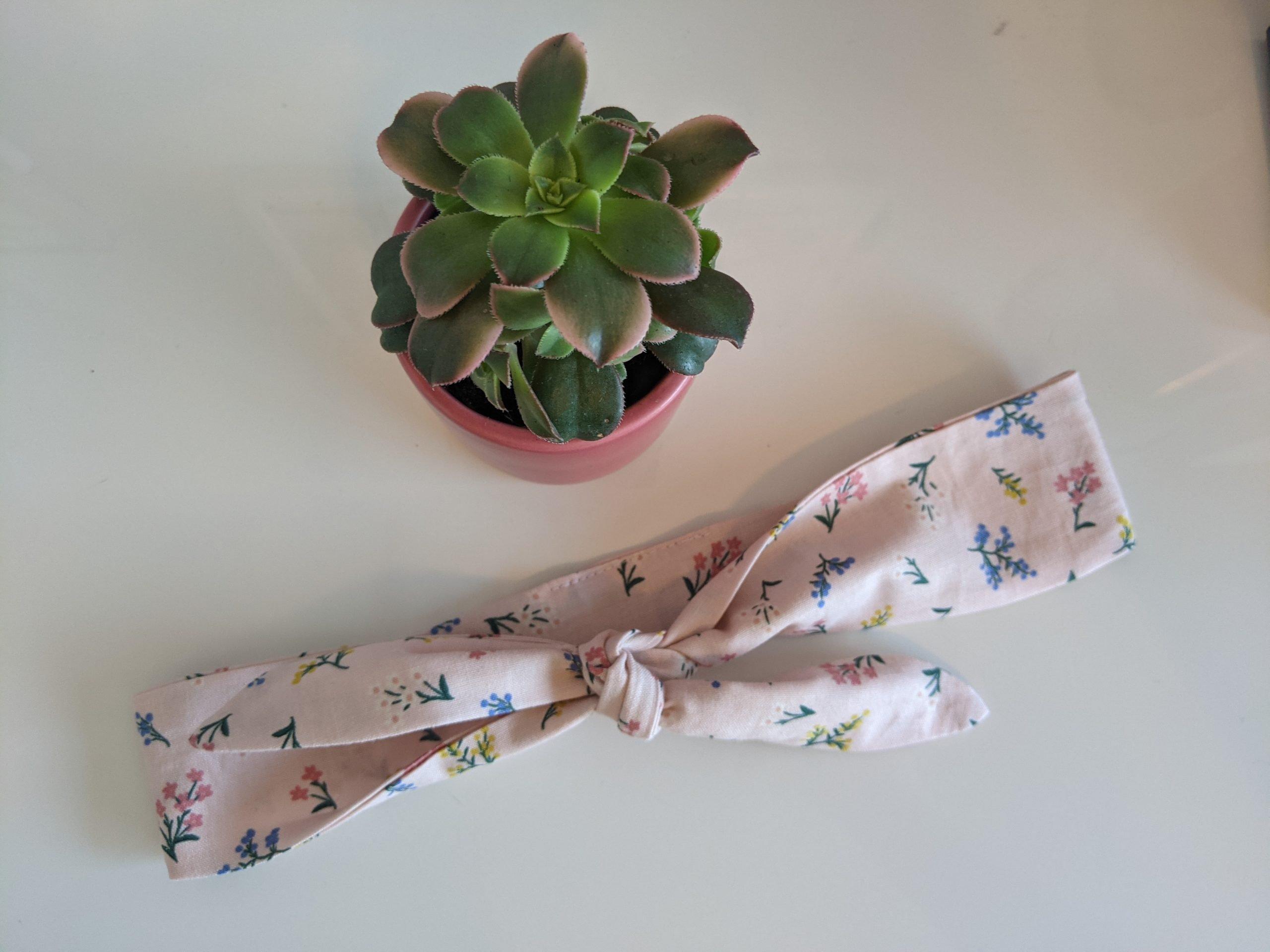 Petit Fleurs Blush Headband table top