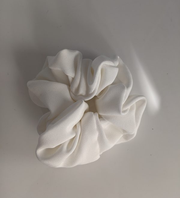 Ivory white silk scrunchie
