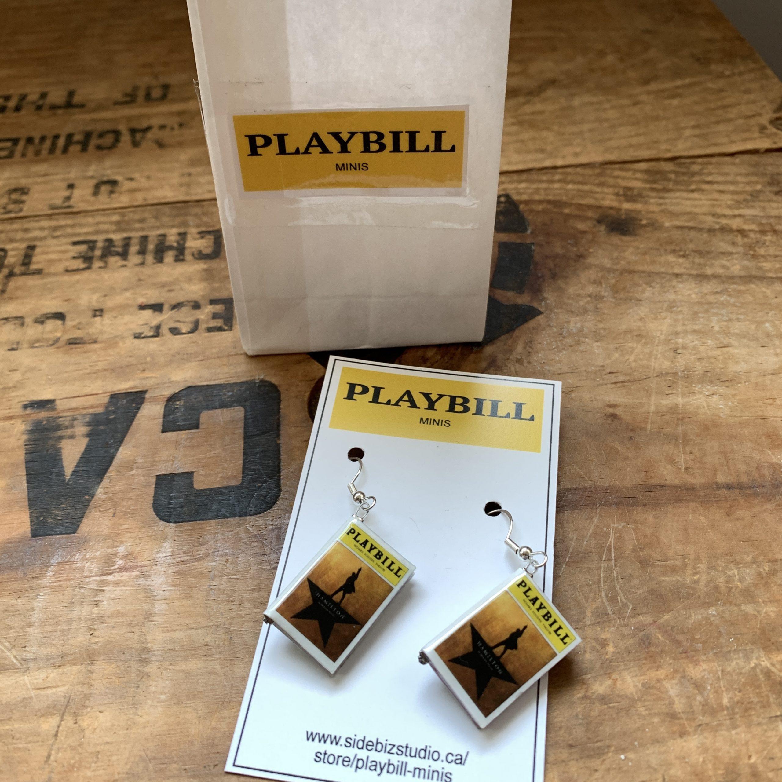 Playbill Mini Book Hamilton Earrings on card