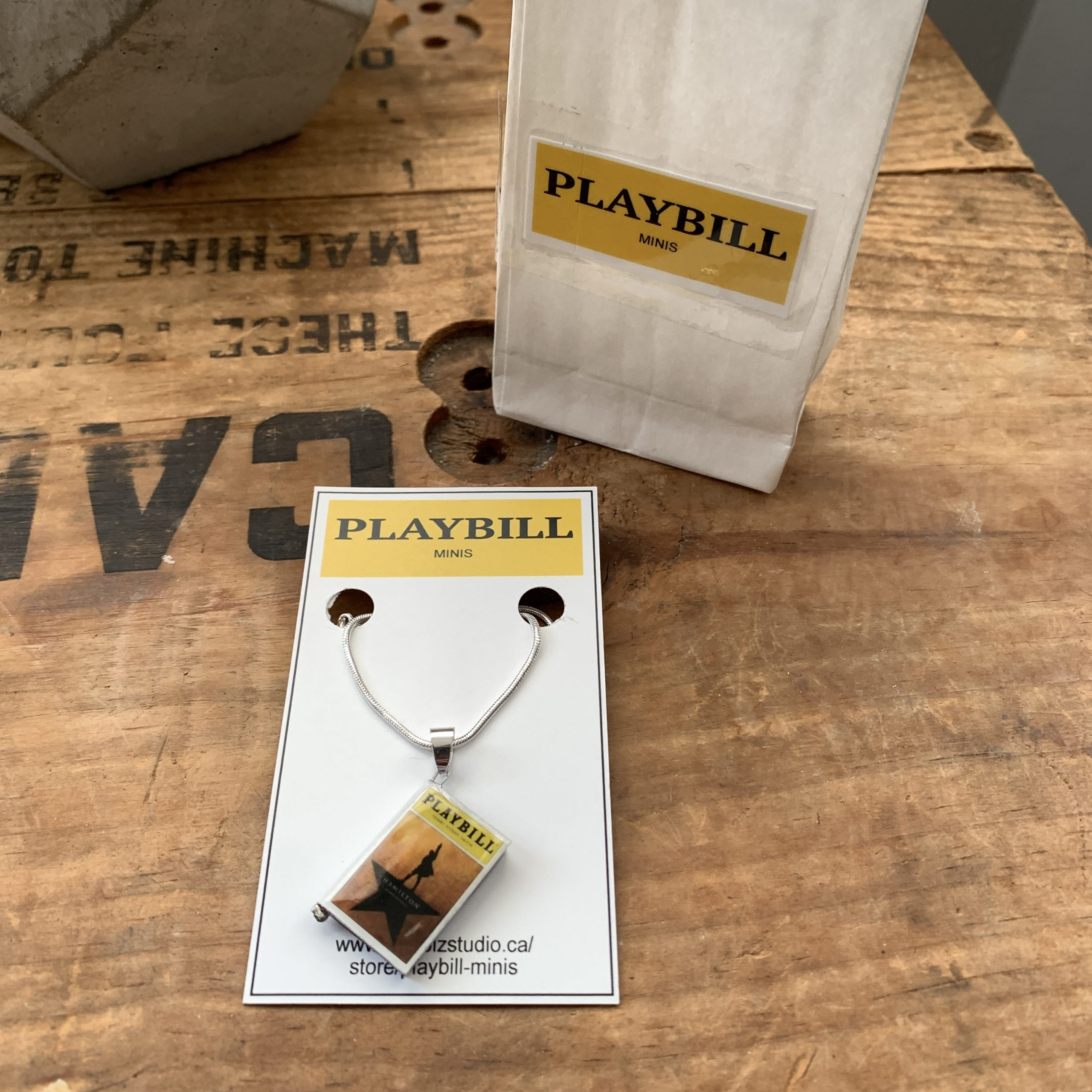 Playbill Mini Book Hamilton necklace card